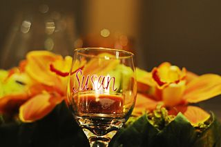Wine glass place card